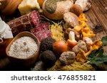 Small photo of mixed italian luxury food with truffle cep mushroom ovum cheese salami