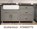 Stock photo grey gray luxury bespoke kitchen sink 476860774