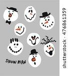 snowman christmas smile card...   Shutterstock .eps vector #476861359