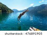 happiness girl in jump | Shutterstock . vector #476891905