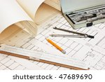 old technical drawings and... | Shutterstock . vector #47689690