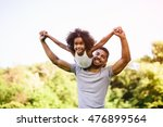 child flying on father... | Shutterstock . vector #476899564