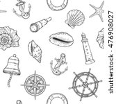 hand drawn nautical seamless... | Shutterstock .eps vector #476908027