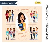 set of vector group of students ... | Shutterstock .eps vector #476908969