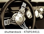 old timer classic car dashboard | Shutterstock . vector #476914411
