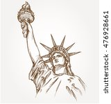 statue of liberty hand dawn on... | Shutterstock .eps vector #476928661