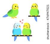 Cute Cartoon Budgie Vector...