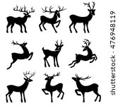 nine black deer set silhouettes ... | Shutterstock .eps vector #476948119
