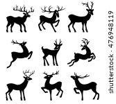 nine black deer set silhouettes ... | Shutterstock .eps vector #476948119