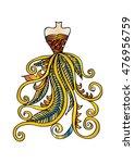 hand drawn elegant woman dress. | Shutterstock .eps vector #476956759