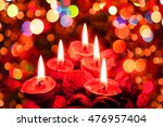 christmas candles in the dark... | Shutterstock . vector #476957404