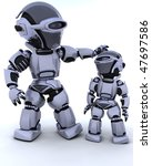 3D render of a robot and child - stock photo
