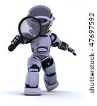 3D render of a robot searching with magnifying glass - stock photo