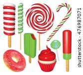set of christmas sweets and... | Shutterstock .eps vector #476987071