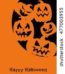 happy halloween card design.... | Shutterstock .eps vector #477003955