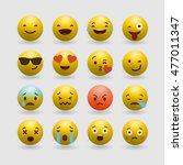 set of emoticons. set of emoji. ... | Shutterstock .eps vector #477011347