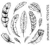 feather sketch set. hand drawn... | Shutterstock . vector #477014731