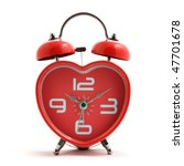Heart Shape Red Clock With Bel...