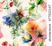 seamless wallpaper with wild... | Shutterstock . vector #477022147