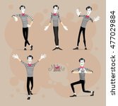 set of mimes performing... | Shutterstock .eps vector #477029884