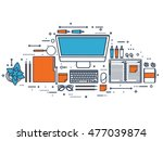 workplace with table and... | Shutterstock . vector #477039874