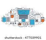 flat typewriter.laptop. tell... | Shutterstock . vector #477039901