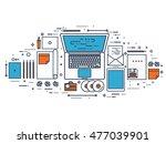 flat typewriter.laptop. tell... | Shutterstock . vector #477039901