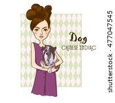 cute girl holding dog   symbols ... | Shutterstock .eps vector #477047545