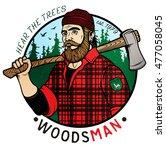 lumberjack template logo.... | Shutterstock .eps vector #477058045
