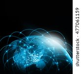 world map on a technological... | Shutterstock . vector #477061159