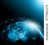 world map on a technological... | Shutterstock . vector #477061171