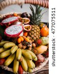 exotic tropical fruits in the... | Shutterstock . vector #477075511
