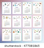 calendar year 2017 with simple... | Shutterstock .eps vector #477081865