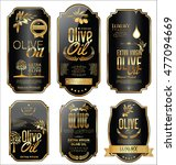 olive oil retro vintage gold... | Shutterstock .eps vector #477094669