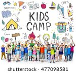 summer kids camp adventure... | Shutterstock . vector #477098581