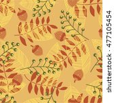 seamless pattern with autum... | Shutterstock .eps vector #477105454