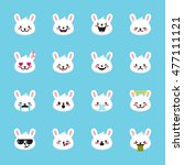 vector rabbit emoticons... | Shutterstock .eps vector #477111121