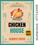 fried chicken retro poster in... | Shutterstock .eps vector #477112435