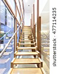wooden stairs to up floor with... | Shutterstock . vector #477114235