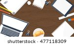 workplace with table and... | Shutterstock . vector #477118309