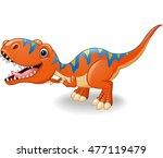 happy tyrannosaurus cartoon | Shutterstock .eps vector #477119479