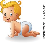 cartoon baby girl crawl | Shutterstock . vector #477122539