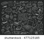 fast food doodles hand drawn... | Shutterstock .eps vector #477125185