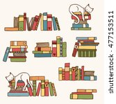 hand drawn colorful book stacks ... | Shutterstock .eps vector #477153511