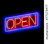 Open Neon Sign. Vector...