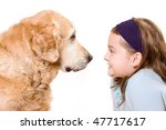 cute girl and her dog friend | Shutterstock . vector #47717617