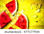 pieces of watermelon and ice... | Shutterstock . vector #477177934