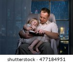 bedtime story. dad daughter... | Shutterstock . vector #477184951