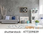 bright room in shades of grey ... | Shutterstock . vector #477209839