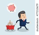 businessman piggy cart male... | Shutterstock .eps vector #477213679